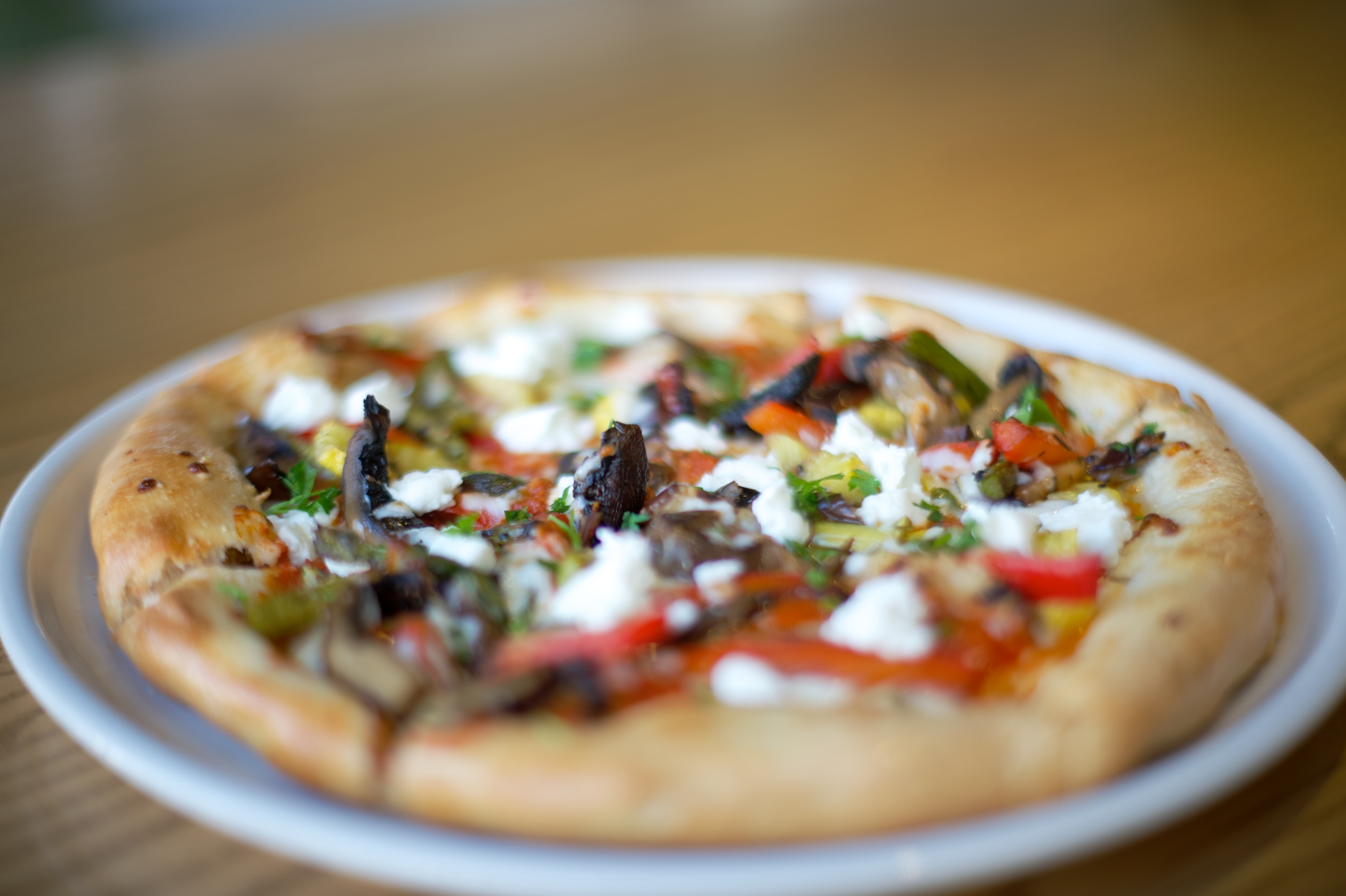 Roasted Vegetable Pizza – Goat and mozzarella cheeses, eggplant, red ...